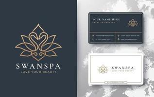 swan lotus logo vector
