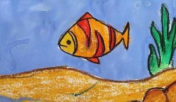 Drawing fish on sea background photo