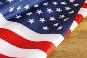 USA flag on wooden background photo