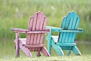 couple chair at garden photo