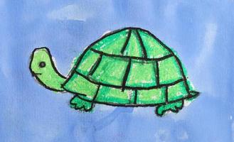 Colorful drawing sea animal on blue background photo