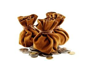 Vintage Brown Suede Money Bag Drawstring Inside With Coins photo