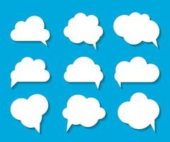 Set of Cloud Shaped Speech Bubbles Vector Illustration