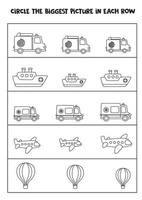 Find the biggest picture of transport in each row. vector