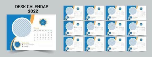Desk calendar 2022, modern and clean design. vector