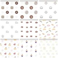 Collection of colorful fancy sweet dessert seamless pattern vector