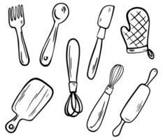 colección de utensilios de cocina. utensilios de cocina, arte lineal. vector