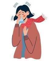mujeres con resfriado o gripe. mujer enferma tiene secreción nasal vector