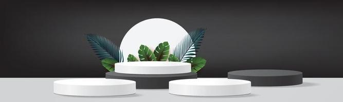 abstract black white 3d podium mockup minimal stage luxury product vector