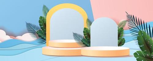 3d geometric podium mockup leaf tropical netural concept vector