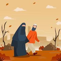 moslem couple walking under falling autumn leaves vector