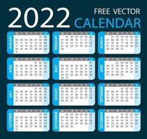 Calendar 2022 Vector Cyan