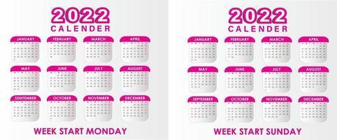 calendario 2022 vector magenta