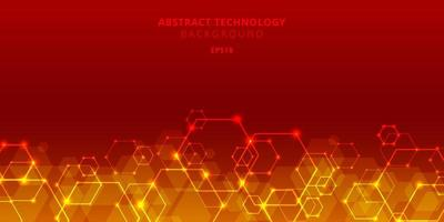 Abstract technology hexagons social network pattern on red background vector