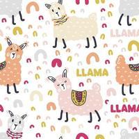 Free hand drawing vector seamless pattern llamas and text LLAMA