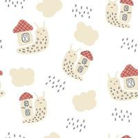Pastel colored vector seamless pattern of snails and rainy clouds