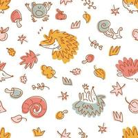 Pastel colored seamless pattern of hedgehogs and autumn elements vector