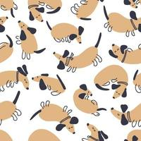 Hand drawn vector seamless pattern of playing dachshunds
