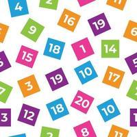 números, números del uno al veinte de patrones sin fisuras. vector