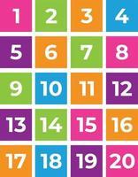 números, números del uno al veinte vector