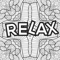 Relax colouring book page design for adults and children vector
