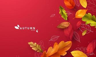 Autumn sale falling leaves background nature vector