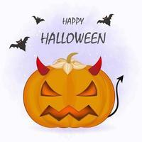 Devil pumpkin cartoon Halloween illustration vector