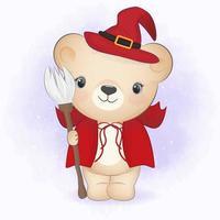 Cute little Bear holding broom. Halloween illustration vector