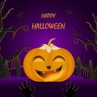 Pumpkin in Halloween night hand drawn cartoon Halloween illustration vector