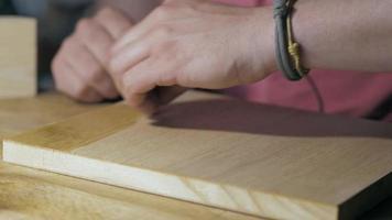 Applying Wood Stain on A Wooden Oak Board video