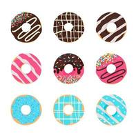 Circle donuts with colorful holes covered in delicious chocolate. vector
