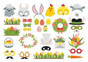 Cute Easter photo booth props as set of party graphic elements vector
