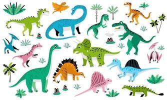 Childish poster with cute flat dinosaur set vector