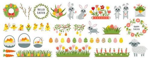 Easter set of design elements for scrapbooking vector