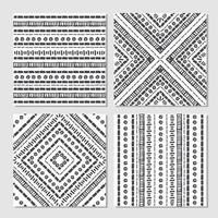 Ethnic seamless patterns. Set of aztec geometric backgrounds. vector
