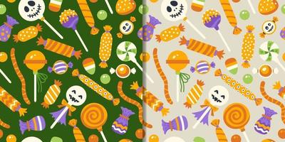 Halloween sweets set with seamless pattern vector