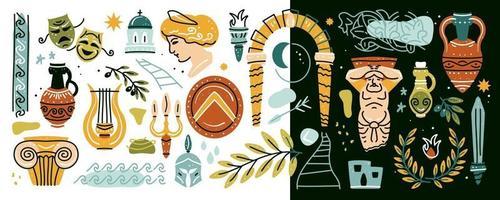 Ancient, Greek elements set. Various Antique items vector