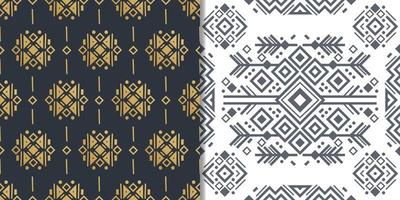 Navajo elements set with seamless patterns and abstract aztec elements vector