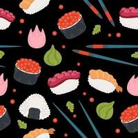 Seamless pattern kawaii rolls and sushi background. Sea food design vector