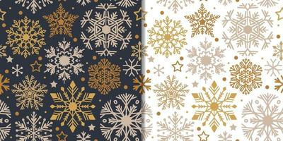 Christmas cute snowflakes set with seamless pattern vector