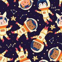 Space astronaut seamless pattern in cartoon style. Vector design.