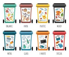 Waste collection, segregation and recycling illustration. Garbage vector