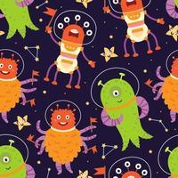Space alien astronaut seamless pattern in cartoon style. Vector