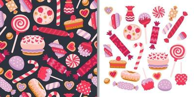 Sweets candies set with seamless pattern vector