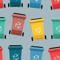 Color Recycle bin with recycle symbol icon isolated seamless pattern vector