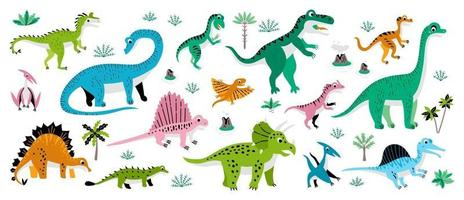 Cute Dinosaurs set with tropic tree vector