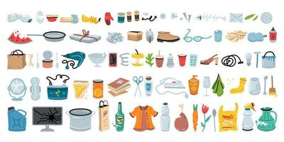 Set of various garbage for concept design. Vector illustration design.