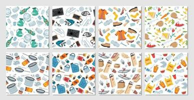 Set of 8 garbage seamless patterns with trash items vector