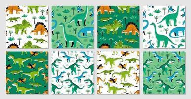 vector conjunto de ocho patrones sin fisuras con dinosaurios, diseño vectorial