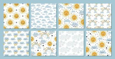 8 baby sky seamless patterns. Rain and clouds. vector
